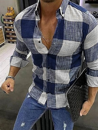 男性用 シャツ チェック 長袖 オフィス / キャリア トップの カジュアル/普段着 快適 ブルー レッド ブラック