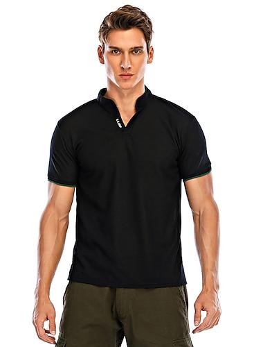 Homens Camisa de golfe Camisa de tenis Solido Patchwork Manga Curta Diario Blusas Algodao Basico Decote V Cinzento Verde Branco / Verao