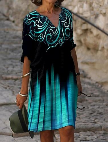 Női Váltó ruha Térdig érő ruha Medence Féhosszú Virágos Batikolt Nyomtatott Nyár V-alakú Alkalmi Bő 2021 M L XL XXL 3XL