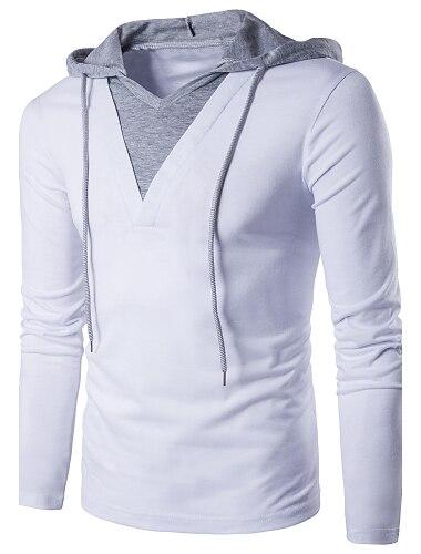 Hombre Camiseta de golf Camiseta de tenis Camiseta Un Color Retazos Manga Larga Diario Delgado Tops Algodon Activo Chic de Calle Con Capucha Blanco Negro