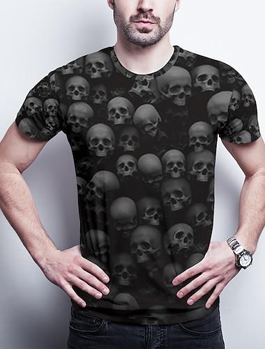 Ανδρικά Μπλουζάκι 3D εκτύπωση Γραφική Νεκροκεφαλές Μεγάλα Μεγέθη Στάμπα Κοντομάνικο Καθημερινά Άριστος Βασικό Μαύρο