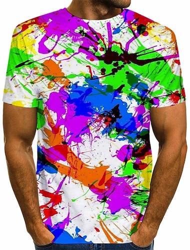 Męskie Podkoszulek Koszula Tęczowy Graficzny Nadruk Krótki rękaw Codzienny Najfatalniejszy Moda miejska Okrągły dekolt Tęczowy