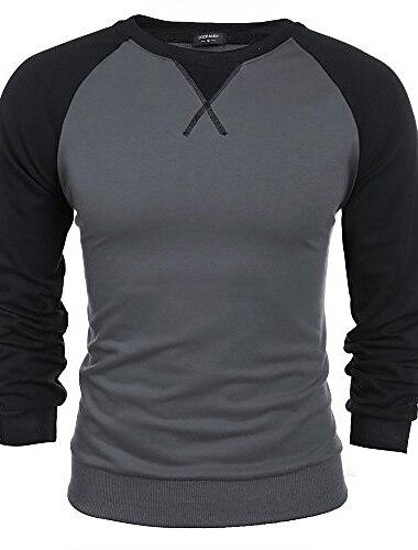 Hombre Camiseta de golf Camiseta de tenis Camiseta no imprimible Bloques Manga Larga Diario Tops Escote Redondo Negro