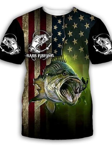 Herre T-shirt Skjorte 3D-udskrivning Grafisk Trykt mønster Kortærmet Fest Toppe overdrevet Rund hals Regnbue