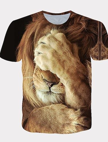 Tee T-shirt Chemise Homme 3D effet Graphique Lion Animal Motif des animaux Imprimé Manches Courtes Quotidien Vacances Standard Spandex Chic de Rue Exagéré Frais Col Rond