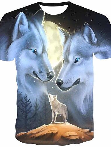 Pánské Tričko Košile 3D tisk Grafika Zvíře Tisk Krátký rukáv Denní Topy Šik ven Kulatý Šedá