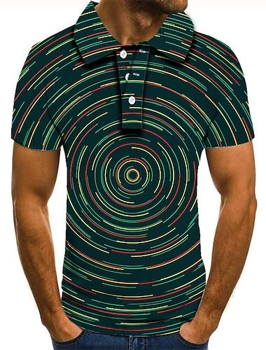 男性用 ゴルフシャツ テニスシャツ 3Dプリント グラフィック 3D印刷 プリント 半袖 日常 トップの ベーシック グリーン