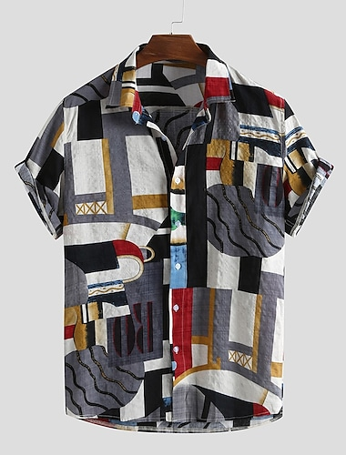 Men\'s Shirt Other Prints Graphic Abstract Print Short Sleeve Daily Tops Basic Button Down Collar Green Red
