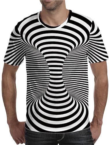 Herre T-shirt Skjorte 3D-udskrivning Grafisk Plusstørrelser Trykt mønster Kortærmet Daglig Toppe Elegant overdrevet Rund hals Sort