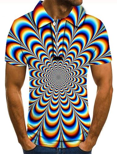 男性用 ゴルフシャツ テニスシャツ 3Dプリント グラフィック 3D印刷 プリント 半袖 日常 トップの ベーシック レインボー