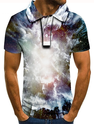 Hombre Camiseta de golf Camiseta de tenis Impresion 3D Grafico Estampado Manga Corta Diario Tops Basico Negro / Blanco