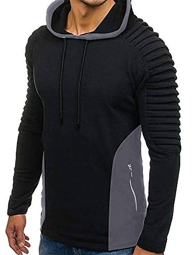 男性用 パーカー カラーブロック パーカー トレーナー グレー ブラック