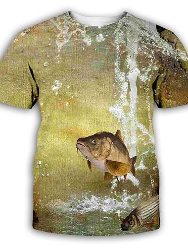 Herre T-shirt Skjorte 3D-udskrivning Grafisk Trykt mønster Kortærmet Fest Toppe overdrevet Rund hals Lysebrun