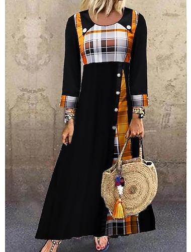 Női Váltó ruha Maxi hosszú ruha Fekete Háromnegyedes Kockás Gomb Ősz Tavasz Kerek Alkalmi Bő 2021 M L XL XXL 3XL