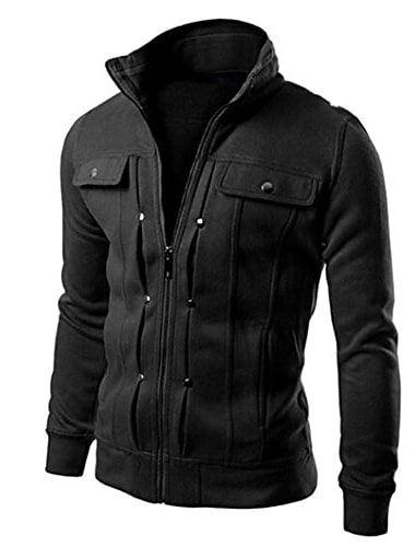 мужская куртка, 2017 мужская мода тонкий дизайн кардиган с лацканами пальто куртка верхняя одежда (м, черный)