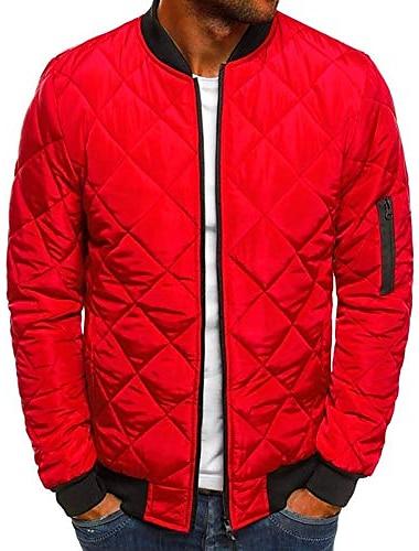 Мужская летная куртка-бомбер, стеганые куртки со стразами, зимние теплые утепленные куртки, верхняя одежда, красный
