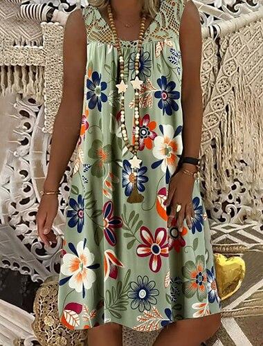 Women\'s Shift Dress Knee Length Dress Army Green Fuchsia White Black Navy Blue Sleeveless Floral Print Summer Round Neck Hot Mumu Beach vacation dresses Loose 2021 M L XL XXL 3XL 4XL 5XL / Plus Size