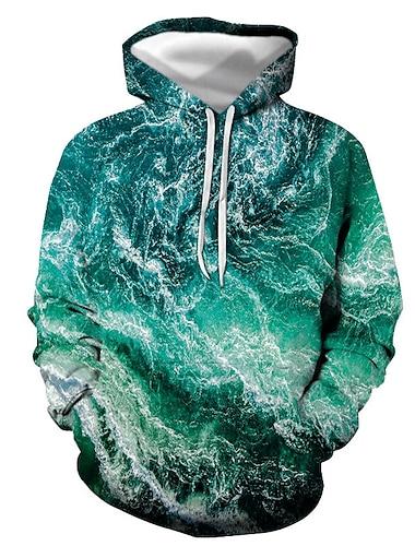 Муж. Толстовка с капюшоном и пуловером Графика Капюшон Повседневные На выход 3D печать Классический На каждый день Толстовки Толстовки Светло-зеленый
