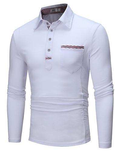 Hombre Camiseta de golf Camiseta de tenis Otras impresiones Un Color Manga Larga Diario Tops Basico Blanco Negro Gris Oscuro