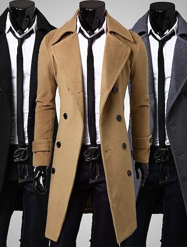 Bărbați Palton pardesiu Zilnic Oficial Iarnă Palton Rever Clasic Fit regulat Jachete Manșon Lung Culoare solidă Gri Kaki Negru
