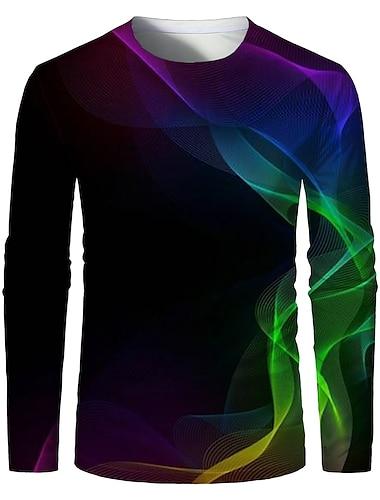 Муж. Футболка Рубашка 3D печать Графика 3D-печати Большие размеры С принтом Длинный рукав Повседневные Верхушки Элегантный стиль преувеличены Круглый вырез Черный