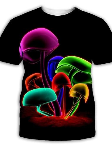 Męskie Podkoszulek Koszula Druk 3D Graficzny Nadruk Krótki rękaw Impreza Najfatalniejszy Przesadny Okrągły dekolt Czarny