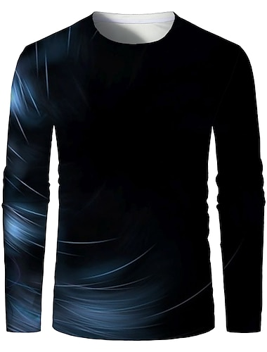 Bărbați Tricou Cămașă Tipărire 3D Grafic 3D Print Mărime Plus Imprimeu Manșon Lung Zilnic Topuri Elegant Exagerat Rotund Negru