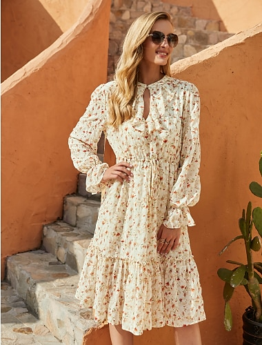 Women\'s A Line Dress Knee Length Dress Beige Long Sleeve Floral Fall Winter Round Neck Elegant Casual Going out Flare Cuff Sleeve 2021 S M L XL / Chiffon
