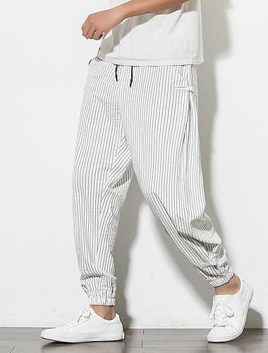Bărbați Chinoiserie Confort Respirabil Pantaloni Sport Zvelt Casă Zilnic Pantaloni Dungi Lungime până la glezne Cordon Dungi Gri Alb Negru Bleumarin / Elasticitate