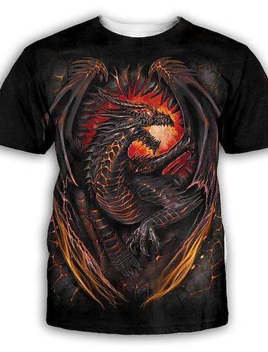 Herre T-shirt Skjorte 3D-udskrivning Grafisk Trykt mønster Kortærmet Fest Toppe overdrevet Rund hals Sort
