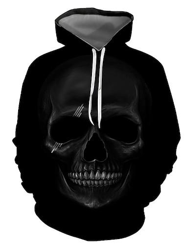 Ανδρικά Φούτερ πουλόβερ με κουκούλα και πουλόβερ Γραφική Νεκροκεφαλές Με Κουκούλα Απόκριες Καθημερινά Εξόδου 3D εκτύπωση Βασικό Καθημερινό Φούτερ Φούτερ Μακρυμάνικο Μαύρο