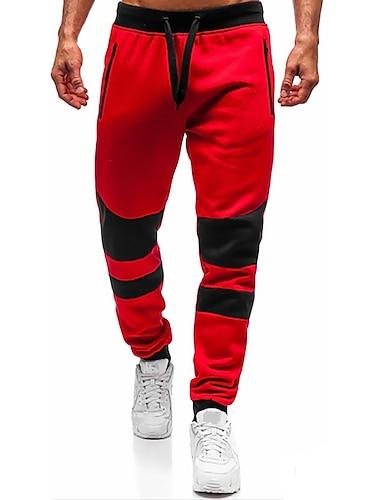 Pánské Tepláky Štíhlý Kalhoty Jednobarevné Krátký Tmavě šedá Rubínově červená