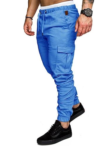 Męskie Bojówki Szczupła Spodnie Solidne kolory Pełna długość Zieleń wojskowa Khaki Biały Jasnoszary Czarny