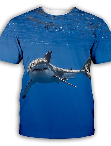 Herre T-shirt 3D-udskrivning Grafisk Plusstørrelser Trykt mønster Kortærmet Fest Toppe overdrevet Flåde Blå Navyblå