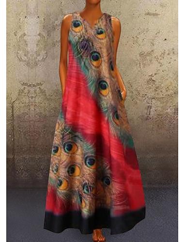 Női A vonalú ruha Maxi hosszú ruha Rubin Tengerészkék Világoskék Ujjatlan Páva Tollak Nyomtatott Nyár V-alakú meleg Alkalmi Szabadság vakációs ruhák 2021 S M L XL XXL 3XL 4XL 5XL / Extra méret