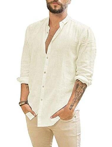Per uomo Camicia Tinta unica Manica lunga Strada Top Cotone Leggero Casuale Traspirante Henley Blu Giallo Frutta verde / Spiaggia