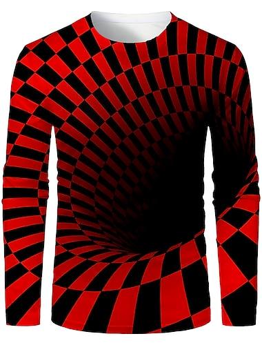 Hombre Camiseta Impresion 3D Grafico Abstracto 3D Manga Larga Diario Tops Basico Negro / Rojo