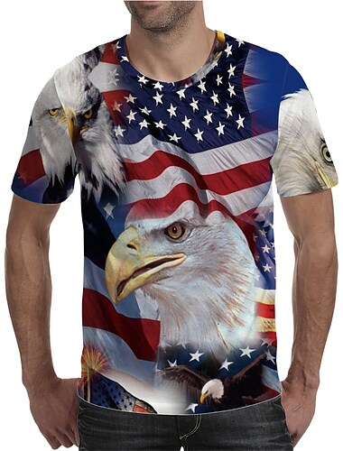 Men\'s T shirt Shirt 3D Print Graphic American Flag Independence Day National Flag Animal Plus Size Print Short Sleeve Daily Tops Elegant Exaggerated Round Neck Rainbow