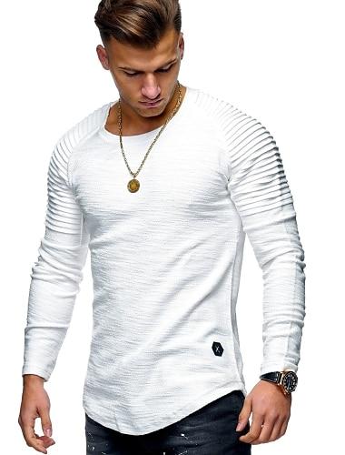 Homens Camiseta Camisa Social nao imprimivel Solido Tamanhos Grandes Manga Longa Diario Blusas Algodao Decote Redondo Verde Tropa Cinzento Caqui