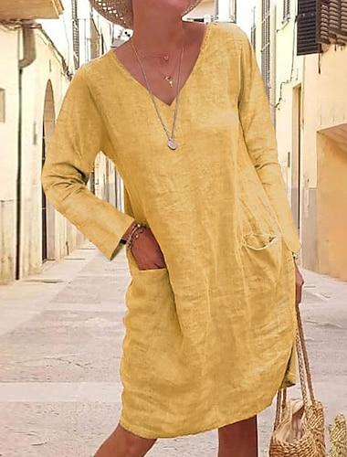 Női Váltó ruha Térdig érő ruha Sárga Szürke Khakizöld Fekete Világoskék Hosszú ujj Tömör szín Ősz V-alakú meleg Alkalmi vakációs ruhák Bő 2021 S M L XL XXL 3XL 4XL 5XL