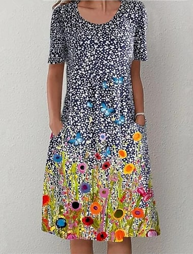 Γυναικεία Φόρεμα ριχτό Μίντι φόρεμα Θαλασσί Κοντομάνικο Πουά Στάμπα Τσέπη Στάμπα Καλοκαίρι Στρογγυλή Λαιμόκοψη καυτό Καθημερινό φορέματα διακοπών 2021 Τ M L XL XXL 3XL 4XL 5XL