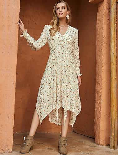 Women\'s Swing Dress Midi Dress Beige Long Sleeve Floral Print Fall Winter V Neck Casual Mumu Going out 2021 S M L XL / Chiffon