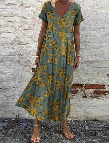Γυναικεία Φόρεμα ριχτό από τη μέση και κάτω Μακρύ φόρεμα Γκρίζο Πράσινο του τριφυλλιού Λευκό Ρουμπίνι Κοντομάνικο Φλοράλ Στάμπα Στάμπα Άνοιξη Καλοκαίρι Λαιμόκοψη V καυτό Καθημερινό Φαρδιά 2021 Τ M L