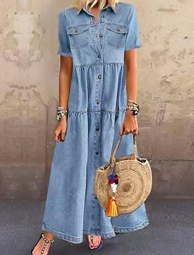 Women\'s Denim Shirt Dress Maxi long Dress Dark Blue Light Blue Short Sleeve Solid Color Pocket Button Spring Summer Shirt Collar Hot Casual Vintage vacation dresses 2021 S M L XL XXL 3XL / Holiday