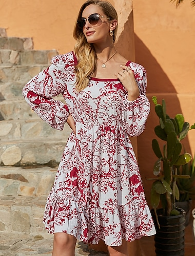 Women\'s A Line Dress Short Mini Dress Red Long Sleeve Print Ruffle Print Fall Winter Square Neck Casual Going out Lantern Sleeve 2021 S M L XL