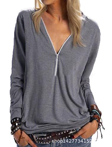 여성용 데이트 블라우스 셔츠 솔리드 긴 소매 지퍼 쿼터 지퍼 V 넥 탑스 면 푸른 퍼플 아미 그린