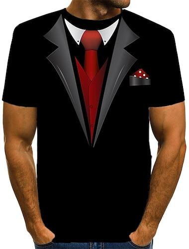 Herre T-shirt Skjorte 3D-udskrivning Grafisk Trykt mønster Kortærmet Daglig Toppe Basale overdrevet Rund hals Hvid Rød Gul