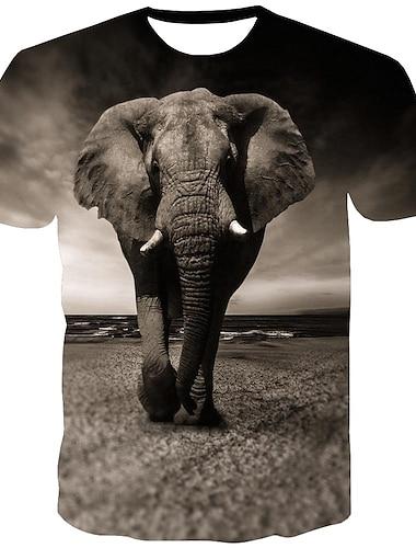 Herre T-shirt Skjorte 3D-udskrivning Grafisk Dyr Trykt mønster Kortærmet Daglig Toppe Gade Rund hals Mørkegrå