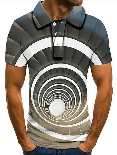 男性用 ゴルフシャツ テニスシャツ 3Dプリント グラフィック 3D印刷 プリント 半袖 日常 トップの ベーシック グレー