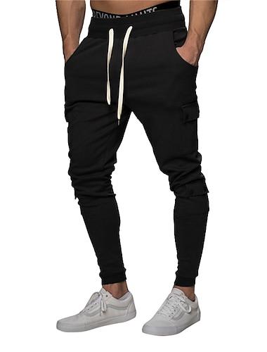 رجالي متنفس الرياضة بنطلونات نحيل مناسب للبس اليومي بنطلون لون سادة مكتمل الطول رمادي أسود